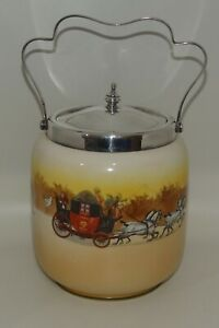 Royal Doulton Coaching Days silverplated lid handle biscuit barrel D2716