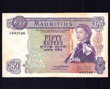 Mauritius  50  Rupees 1967  P-33  Prefix  A1   aVF