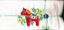 Dish towel – Red Dala Horse  embroidered White Large (32in x 36in)