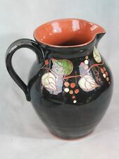 Red Oaks Pottery Pitcher Jug Leaves Design Pam Armbrust Easton, Ill. Redware