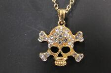New Women Skull Gold Metal Skeleton Chain Fashion Necklace Silver Rhinestones