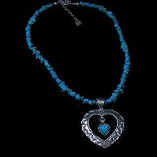 .925 Sterling Silver Natural Turquoise Nugget Heart Necklace