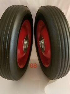 "2pc 6"" Replacement Solid Hard Rubber Tire Wheel or Dolly Hand Cart Lawn Mower"