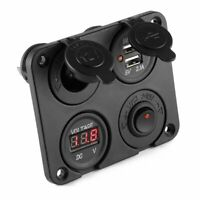 DC 12V-24V Car Boat Cigarette Lighter Socket Dual USB Charger Voltmeter 4 Way