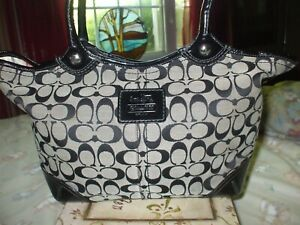 Coach black gray canvas patent leather tote shop beach work travel shoulder bag