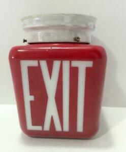 Vintage EXIT Glass Ruby Red Sign Light Globe with Mounting Bracket