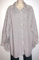 Roaman's Striped Cotton Blend 3/4 Sleeve Button Down Shirt Plus Size 22/24W