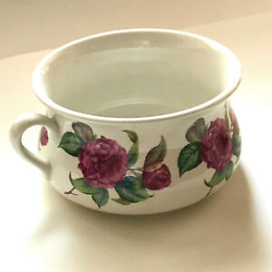 Portmeirion Pottery CHAMBER POT Pink Cabbage Rose Peony Stoke-On-Trent England
