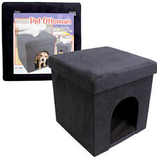 "Folding Cube Pet Ottoman Seat Footstool Storage Box + Lid 15"" Suede Black NEW"