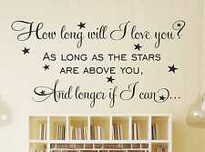 How Long Will I Love You? Wall Sticker Wall Quote Wall Art Wall home Decal i14