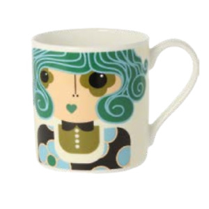 Orla Kiely Dee Dee Teal Quite Big Large China Mug