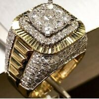 10K Yellow Solid Gold 3.50 Carat Round Cut Diamond Men's Wedding Pinky Band Ring