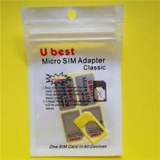 YELLOW Micro Sim Adapter: Apple iPhone 4/4S + iPad 1/2/3/4 Card Converter/Holder