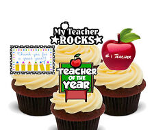 My Teacher Rocks! Edible Cup Cake Toppers, Standup Fairy Decorations, Thank You