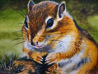 Watercolor Painting Squirrel or Chipmunk :) Animals Nature ACEO Art
