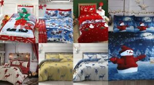 Festive Christmas Eve Bedding Stag Snowman Elf Santa Duvet Cover & Pillowcase