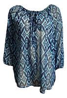 CYNTHIA ROWLEY Blue Peasant Hippie Chic Boho Blouse Size XL