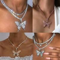 Fashion Butterfly Pendant Necklace Rhinestone Chain Women Bling Crystal Choker@