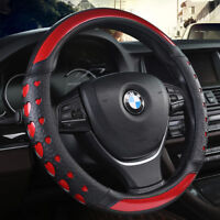Universal Car Steering Wheel Cover Chinese Style Peony Flower PU Leather 15 inch