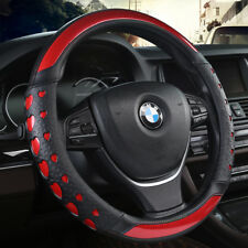Car Steering Wheel Cover Anti-Slip Red PU Leather Heart Laser For CR-V RAV4