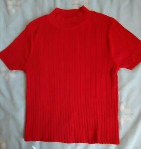 Ladies Red Short Sleeved Crop Jumper Size 12 Primark