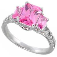 Sterling Silver Engagement Ring w/ Emerald Cut Pink Color & Clear CZ Stones
