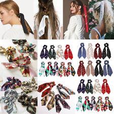 Lots Women Lady Scrunchie Ponytail Holder Elastic Long Ribbon Bow Hair Band Rope
