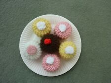 ASSORTMENT HAND MADE KNITTED ICED CAKES TOY PLAY FOOD, ROLE PLAY, EYFS, KS1