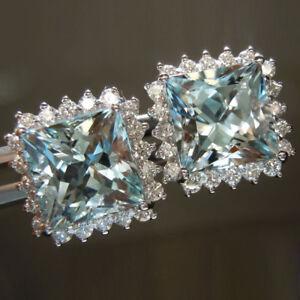 3.80 Ct Real Princess Cut Natural Aquamarine Earrings 950 Platinum Diamond Studs