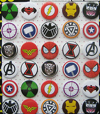 Marvel Super Heroes 4.3CM 30x lot PIN back BADGE BUTTON NEW GIFT PARTY CLOTH BAG