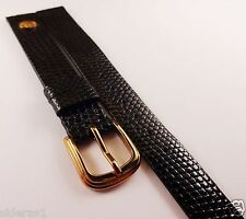 AUNTHENTIC ACCUTRON GENUINE LIZARD WATCH BAND WITH EMBLEM!! 12MM BLACK