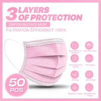 50PCS 3-PLY Layer Disposable Face Mask Dust Filter Safety Protection Pink Color