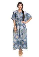Floral Printed Cotton Long Maxi Dress Kaftan Boho Indian Bikini Wear Casual