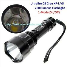 UltraFire C8 Cree XP-L V5 1A 6000k~6500k 1-Mode(On/Off) 2000 Lumens  Flashlights