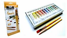 Artists Gouache Painting Set With Brushes 12 X 12ml Asst Colour Tubes Craft