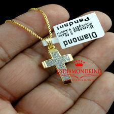 Mens Womens Yellow Gold Finish Genuine Diamond Puff Cross 0.25 Ct Chain Necklace