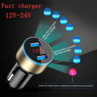 Dual USB 12V-24V 3.1A Mobile Phone Car Charger Adapter LED Display Charging NE8