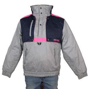 Vintage 80s NEVICA SKI COAT Retro Gray Neon Pink COLORBLOCK Jacket Mens Parka