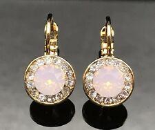 Swarovski Elements PINK OPAL Crystal Earrings Gold Silver Wedding Long Dangle