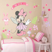 Pink Minnie Mouse Wall Stickers Cartoon Mural Vinyl Decals Girls Room Decor DIY
