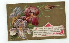 Antique Greetings Post Card Orchids on Gold Foil Verse by Joanna Baillie