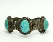 "Filigree Symbol Hinged Bracelet 7"" Antique Chinese Export Sterling Turquoise"
