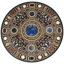 "36"" round Marble center table Top semi precious stones inlay  handmade art"