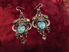 ROYAL BALI PRINCESS EARRINGS ALL HANDE MADE STERLING TURQUOISE CARVED FACE