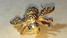 JOAN RIVERS BEE BROOCH/PIN GOLD TONE & CLEAR CRYSTALS