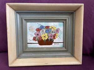 Original Enamel on Copper Painting Signed J. POLK Flower Basket Still Life MCM