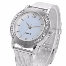 Lujo De Mujer Plateado Reloj Pulsera Acero Inoxidable Cristal Chic