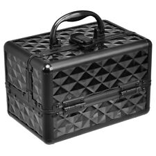 Beauty Cosmetic Makeup Case Train Organizer With Mirror & Extendable Trays Black
