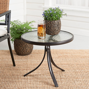 """Mainstays Round Glass Side Table, 20"""" D x 17.5""""H,"""