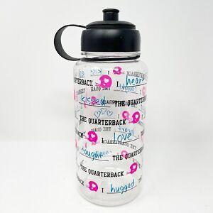 Vtg Victorias Secret PINK VS PINK Water Bottle Plastic Clear Football Sipper Top